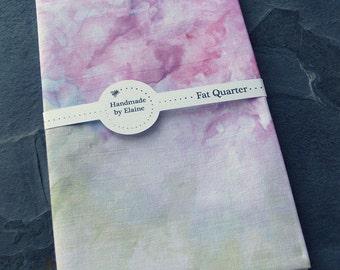 Purple Rainbow Watercolour Effect Fat Quarter - Hand Dyed Fabric, Pastel Plum Sky Blue Amber Rose Chalk White Rainbow Quilting Cotton, 3419