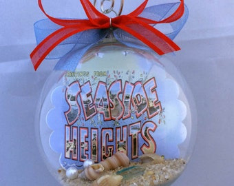 Seaside Heights New Jersey Shore Postcard Vintage Christmas Ornament - Unique Gift!