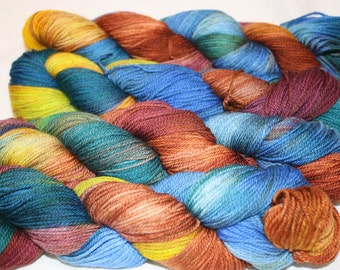 Superwash Hand Dyed Sock Yarn:  Gypsy Caravan