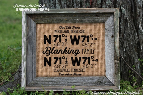 Framed Burlap House Warming Gift | Personalized Family | 2 Locations  GPS Coordinates | Barn Wood Frame | 11x14 | 8x10  | Burlap Print | GPS
