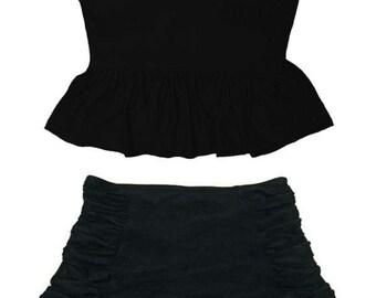 Black dress with peplum waist swimsuit
