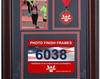 Chicago Marathon Medal Display Frame - Library Mahogany