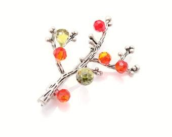 Crystal Pendant and Brooch, Swarovski Handmade beadwork unique gift for women Luxury Statement beaded Nature Pendant, Brooch, Korean Jewelry