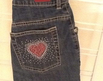 Rhinestone Heart ucycled denim shoulder purse.