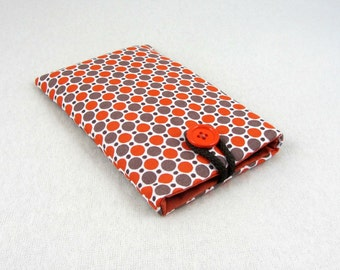 Cellphone cover, dot i phone case, padded pouch,  smart phone sleeve, orange and brown phone pouch