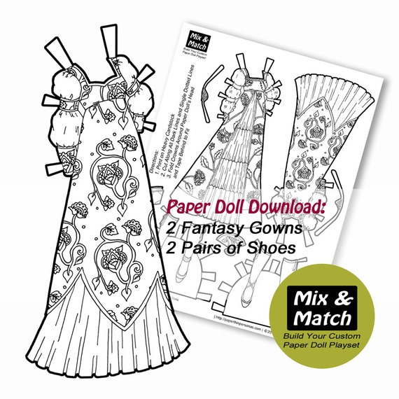 Paper Doll Princess Dresses Mix & Match Digital Paper Doll