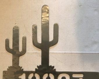 Cactus address sign... metal