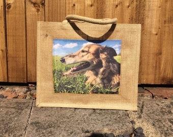 Personalised Photo Jute Bag, Photo Bag, Shopping Bag, Gift Bag, Pet Photo Bag, Personalised Bag, Hessian Bag, Handmade Photo Bag