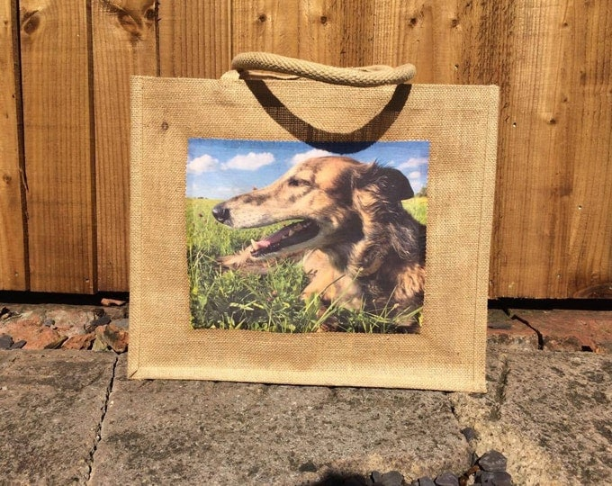 Featured listing image: Personalised Photo Jute Bag, Photo Bag, Shopping Bag, Gift Bag, Pet Photo Bag, Personalised Bag, Hessian Bag, Handmade Photo Bag