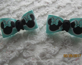 Dog Hair Bows Can Mix and match with any of my bows, Aqua Minnie dog bows, bows
