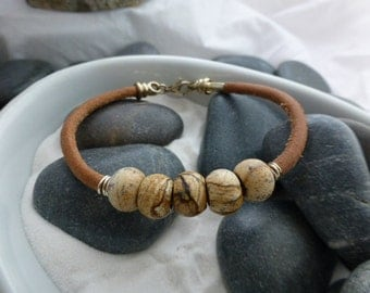 Leather and Jasper Bead Bracelet