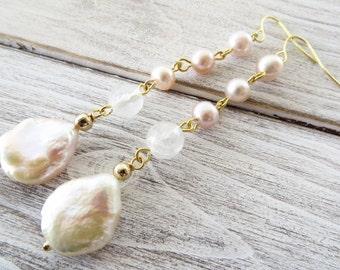 Baroque pearl earrings, drop earrings, dangle earrings, freshwater pink pearl earrings, romantic earrings, wedding jewelry, italian jewelry