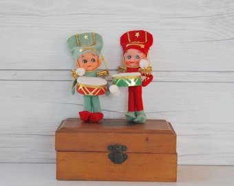 Vintage Elf Drummer Boy Ornaments- Set of 2, Vintage Elf Ornament, Vintage Little Drummer Boy Ornament, Vintage Felt Ornament