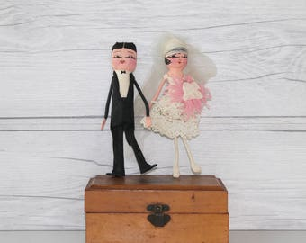 Vintage Paper Bride and Groom, Vintage Wedding Cake Topper, Vintage Package Topper, Vintage Wedding Anniversary Decor