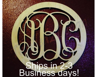22 inch Circle Border Vine Wooden Monogram Fast Ship - Wedding, Nursery, Home, Letters