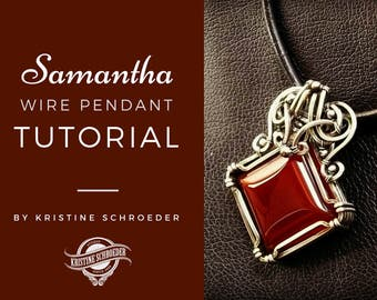 Wire Sculpted Pendant Tutorial, Kristine Schroeder, Wire Jewelry Tutorial, Samantha Tutorial, Instant Digital Download, Square Wire Tutorial