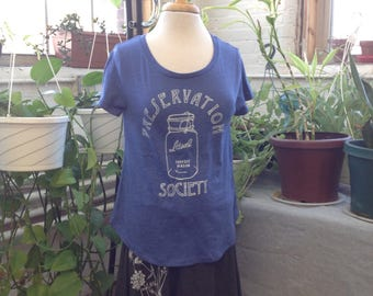 Sale! Preservation Society Scoop Neck Tee in Blue