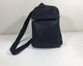 Black Leather Sling Bag, Shoulder Bag, Top handle, Shoulder Bag