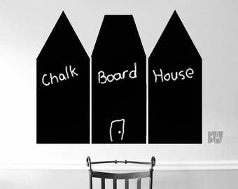 Chalkboard Houses. Chalk houses. Wall Chalkboard. Wall Decal. Wall sticker. Home decor decals. Black chalkboard decals.
