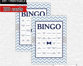 Instant Download Baby Shower BINGO Bow Tie shower Game, Little man Baby shower Bingo 100 Cards Printable