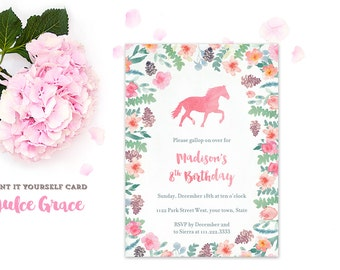 horse invitation, pony birthday party, party invites girl, girl birthday invites, girly invites, feminine invitations, PRINTED or PRINTABLE
