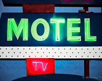 TV in Every Room - Midcentury Neon Motel Sign Photograph