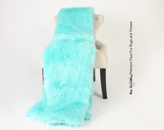 Luxurious Faux Fur Throw Blanket  - Light Aqua, Teal, Turquoise Shag - Silky Soft Minky Cuddle Fur Back - Fur Accents Designs USA