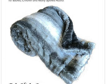 Worlds Softest Minky Cuddle Fur Blanket - Reversible - Gray Stripe with Soft Gray Waffle  Minky Cuddle Fur All Sizes and Colors