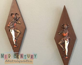 Mid Century Burwood Products Company Harlequin 3-D Wall Plaques