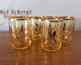 Mid Century Gold Leaf and Amber Glass Shot Glass Set