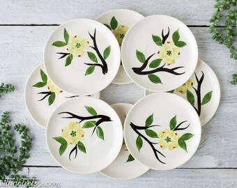 8 Vintage Floral Saucers - Dixie Dogwood Flower Plates - Hand Painted Dishes - Joni China