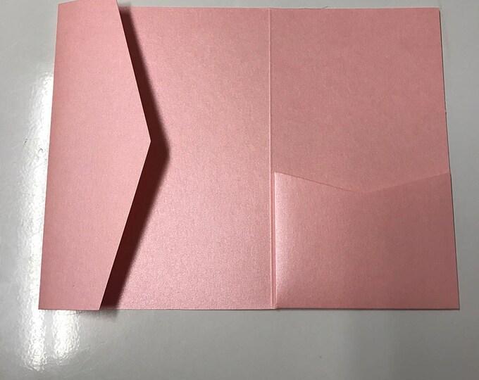 5x7 Pocket for Wedding Invitations in Metallic Pink, Rose, Bubblegum, Cotton Candy