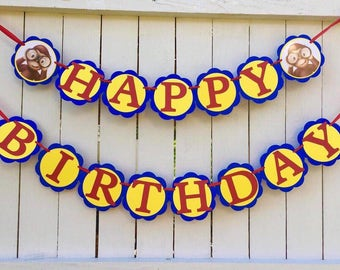 Curious George Happy Birthday banner curious George birthday party curious George invitation curious George shirt curious George favor tags
