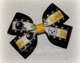 Pittsburg Steelers Bow ~ Black & Yellow Bow ~ Steelers Hair Bow ~ Large Steelers Bow ~ Steelers Headband Bow ~ Steelers Ponytail Bow