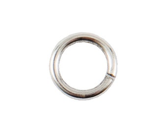 Large Jump Rings - 8.6mm - Antique Silver (plated) - FIVE