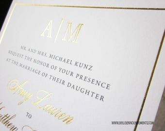 100 - Gold Monogram Foil Wedding Invitations + 100 RSVP Cards