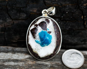 Cavansite in Matrix Pendant - Deep Teal Blue Cavansite in Matrix Pendant - Cavansite Jewelry - Cavansite Sterling Silver Necklace
