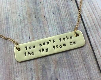 Brass Custom Quote Necklace, Hand Stamped Personalized Quote Necklace, Long Bar Necklace, Custom Plate Phrase, Motivational Quote Necklace