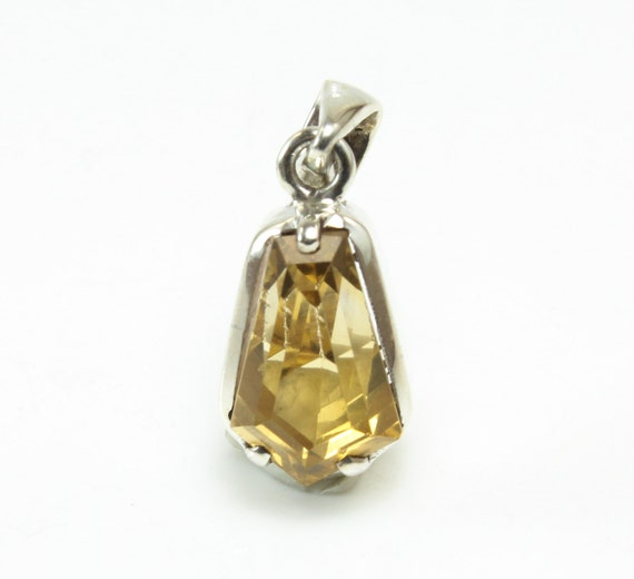 Citrine Pendant, Faceted, Sterling Silver, C-370