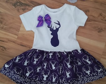 White Onesie with Purple Deer Fabric and Purple Vinyl Deer and option to purchase matching headband