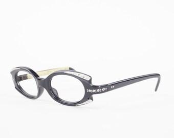 60s Vintage Cateye Eyeglasses   1960s Spex Crystal Black Geometric Glasses   NOS Eyeglass Frame   Deadstock Eyewear - Greta