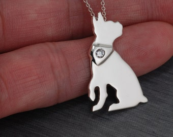 Boston Terrier Handcrafted sterling silver necklace