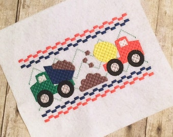 Construction Embroidery Design - Construction Faux Smock - Dump Truck Embroidery - Transportation Embrodiery Design -