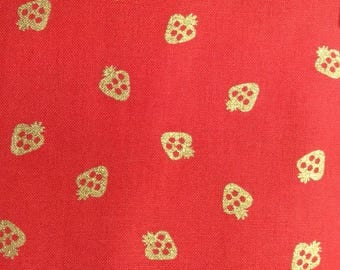 One Half Yard of Fabric Material - Gold Stawberries on Red