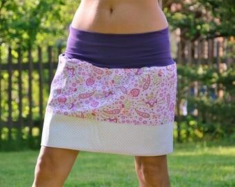 Mini skirt flower purple flowers GR 38 Paisley Muster