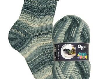 Herzhafte Olive (Hearty Olive) 9366 - Fresh & Juicy - 4 ply self patterning sock yarn.