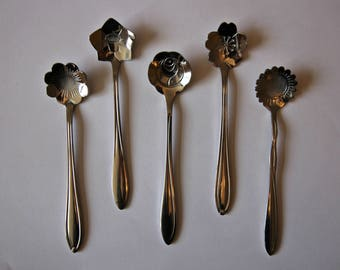 Tea/Dessert Spoons Set of 5 Floral Flowers Silver Cute Girly