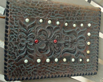 Vintage Brown Genuine Leather Folder/ Portfolio /Vintage Tooled Leather Folder/ Dark Brown Genuine Leather Embossed Folder/1970s