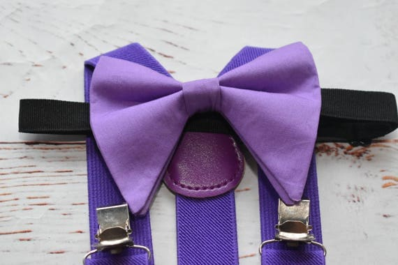 Floppy butterfly lilac bow tie with matching Suspenders/Braces for Baby, Toddlers and Boys (Kids' Bowtie)