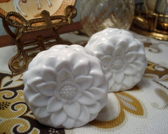 Vintage Ceramic White Flowers Salt & Pepper Shakers - Made in China - Excellent Condition!!